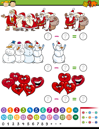cartoon math: Cartoon Illustration of Education Mathematical Subtraction Task for Preschool Children
