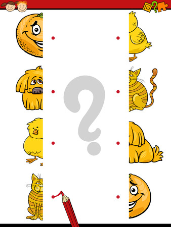 join: Cartoon Illustration of Kindergarten Educational Join Halves Task for Children