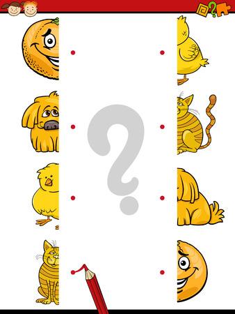 Cartoon Illustration of Kindergarten Educational Join Halves Task for Children