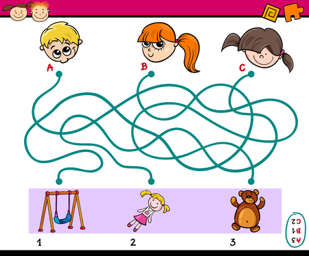 preschoolers: Cartoon Illustration of Educational Paths or Maze Puzzle Task for Preschoolers with Children and Toys
