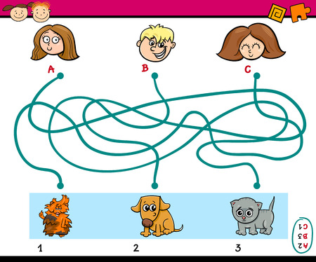 preschoolers: Cartoon Illustration of Education Paths or Maze Puzzle Task for Preschoolers with Children and Pets Illustration