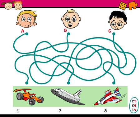 preschoolers: Cartoon Illustration of Education Paths or Maze Puzzle Task for Preschoolers with Boys and Vehicles