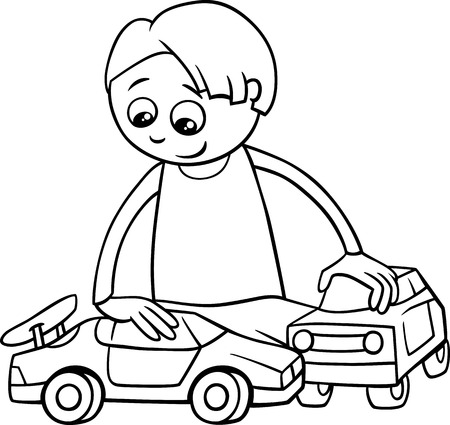 Black And White Cartoon Illustration Of Cute Boy With Remote ...