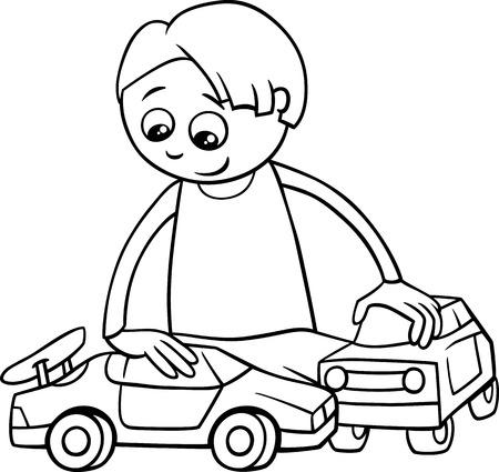 Historieta Blanco Y Negro Ilustración De Little Boy Feliz Con Avión