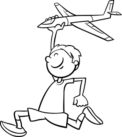 toy plane: Black and White Cartoon Illustration of Happy Little Boy with Toy Plane for Coloring Book Illustration