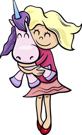 cuddly: Cartoon Illustration of Cute Little Girl with Cuddly Toy Unicorn