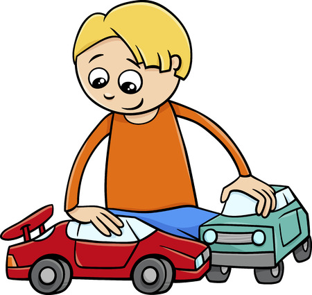 cartoon child: Cartoon Illustration of Happy Boy with Toy Cars Illustration