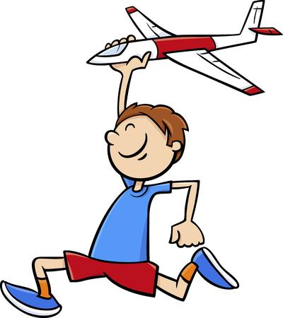cheerful cartoon: Cartoon Illustration of Happy Little Boy with Toy Plane
