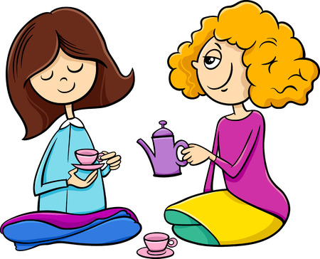 funny people: Cartoon Illustration of Two Cute Girls with Toy Tea Cups Playing House