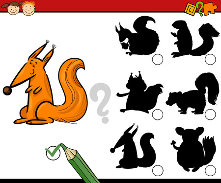 teaser: Cartoon Illustration of Educational Shadow Matching Task for Preschoolers with Squirrel Animal Character