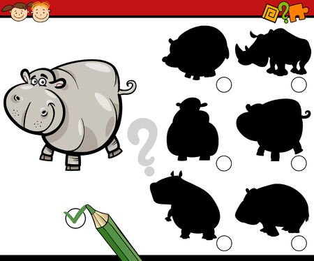 Cartoon Illustration of Educational Shadow Task for Preschool Kids with Hippo Animal Character Illustration