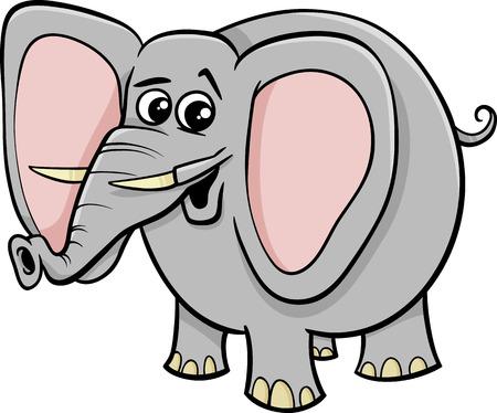 tusks: Cartoon Illustration of African Elephant Animal Character