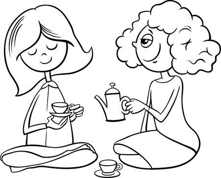 cute house: Black and White Cartoon Illustration of Two Cute Girls with Toy Tea Cups Playing House for Coloring Book Illustration