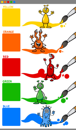preescolar: Ejemplo de la historieta de los colores primarios con caracteres extranjeros Juego educativo para niños en edad preescolar Vectores