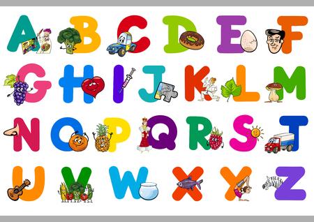 niños estudiando: Ilustración de dibujos animados de letras mayúsculas del alfabeto Conjunto de Lectura y Escritura de Educación