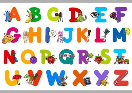 c design: Cartoon Illustration of Capital Letters Alphabet Set with Objects for Preschool Children Education