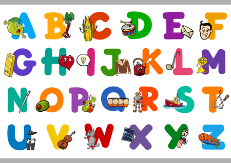 escuela caricatura: Ilustración de dibujos animados de letras mayúsculas del alfabeto Conjunto con objetos de lectura y escritura para niños en edad preescolar Educación