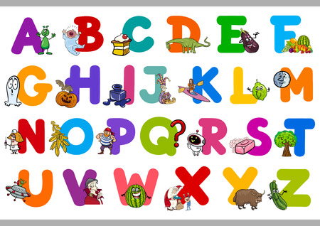 letter x: Cartoon Illustration of Capital Letters Alphabet Set for Kindergarten Reading and Writing Education
