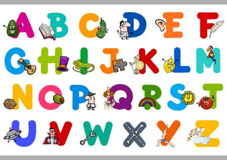 preescolar: Ilustración de dibujos animados de letras mayúsculas del alfabeto Juego educativo para niños en edad preescolar