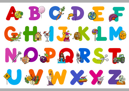 preschool child: Cartoon Illustration of Capital Letters Alphabet with Objects for Reading and Writing Education for Preschool Children Illustration