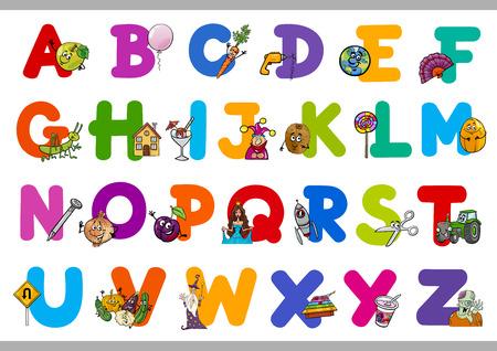 niño preescolar: Ilustración de dibujos animados de la capital las letras del alfabeto con los objetos para la Educación lectura y escritura para niños en edad preescolar