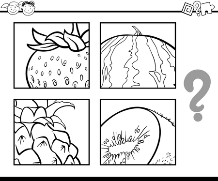 guess: Black and White Cartoon Illustration of Education Task for Preschool Children od Guess the Fruits for Coloring