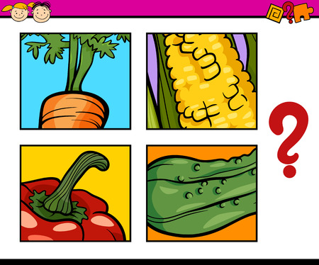 guess: Cartoon Illustration of Education Task for Preschool Children od Guess the Vegetables