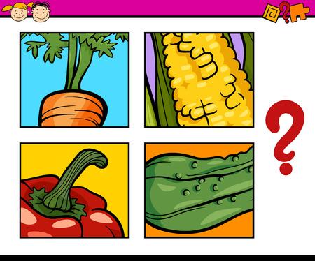 elote caricatura: Ilustración de dibujos animados de trabajo sobre educación para niños en edad preescolar od Guess las verduras