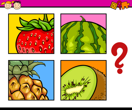 guess: Cartoon Illustration of Education Task for Preschool Children od Guess the Fruits Illustration