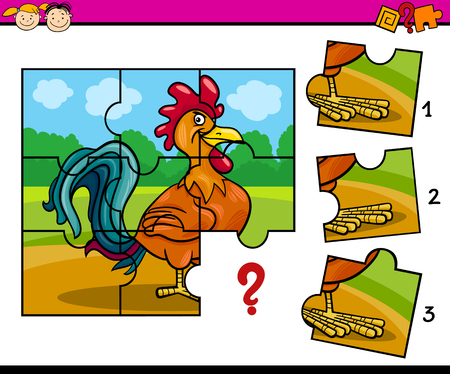 Cartoon Illustration of Jigsaw Puzzle Education Task for Preschool Children with Farm Rooster Stock fotó - 48830010