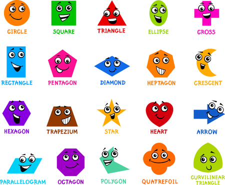 primer: Cartoon Illustration of Educational Basic Geometric Shapes Characters with Captions for Preschool or Primary School Children