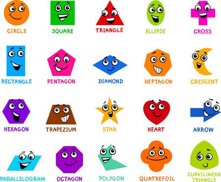 Illustratie van het beeldverhaal van Educational geometrische basisvormen Tekens met bijschriften voor Preschool of Primary School Children Stockfoto - 48830012
