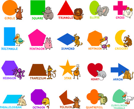 shapes cartoon: Cartoon Illustration of Educational Basic Geometric Shapes for Preschool or Primary School Children with Animal Characters