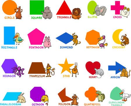 preescolar: Ejemplo de la historieta de la Educación geométricas básicas Formas de preescolar o primaria Niños de la escuela con Animal Characters Vectores