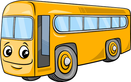 Cartoon Illustration of School Bus Vehicle Character