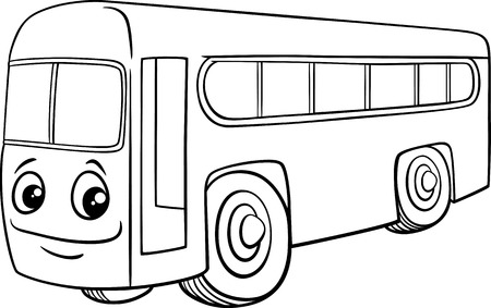 Black and White Cartoon Illustration of School Bus Vehicle Character for Coloring Book Illustration