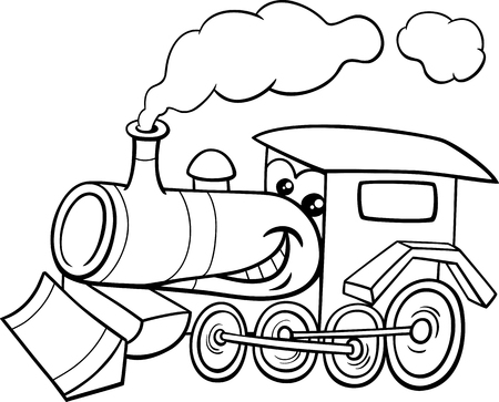 Black and White Cartoon Illustration of Steam Engine Locomotive Transport Character for Coloring Book