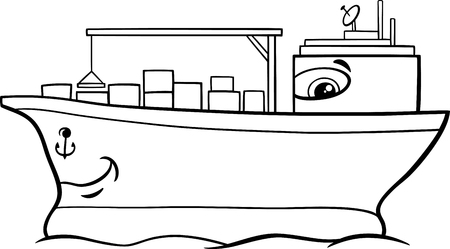lading: Black and White Cartoon Illustration of Container Ship Transport Character for Coloring Book Illustration