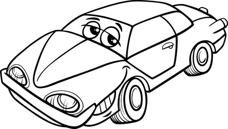 oldschool: Black and White Cartoon Illustration of Classic Oldschool Car Vehicle Character for Coloring Book