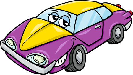 oldschool: Cartoon Illustration of Classic Oldschool Car Vehicle Character Illustration