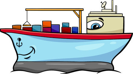 lading: Cartoon Illustration of Container Ship Transport Character