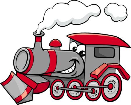 Cartoon Illustration of Steam Engine Locomotive Transport Character