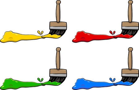 primer: Cartoon Illustration of Paintbrushes with Primary Colors Design Elements Illustration
