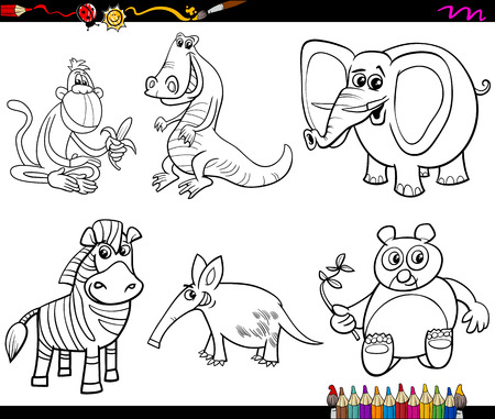 aardvark: Black and White Cartoon Illustration of Wild Animal Characters Set for Coloring Book