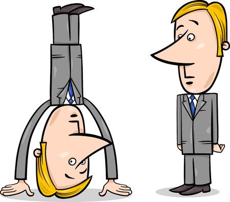 Concept Cartoon Illustration of Businessman Standing on his Head