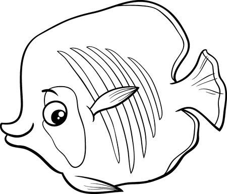 exotic fish: Black and White Cartoon Illustration of Exotic Fish Sea Life Animal Character for Coloring Book