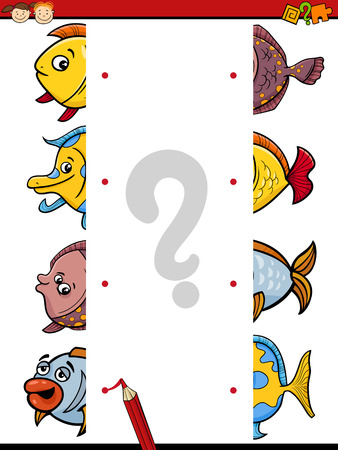 simple fish: Cartoon Illustration of Kindergarten Educational Join Halves Task for Children with Fish Characters