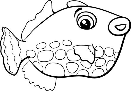 fish animal: Black and White Cartoon Illustration of Exotic Fish Animal Character for Coloring Book
