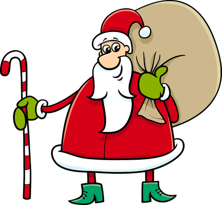 funny cartoon: Cartoon Illustration of Santa Claus with Sack and Cane on Christmas Time Illustration
