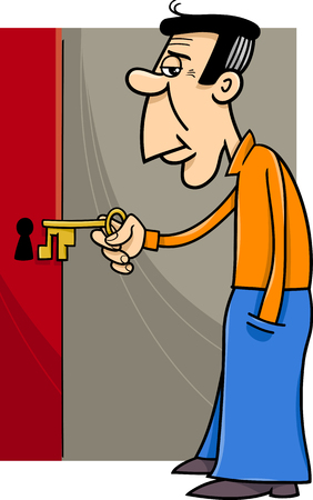 close: Cartoon Illustration of Man Opening Door with Key
